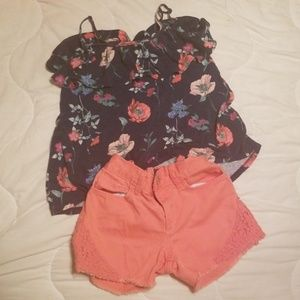 Floral tank and shorts